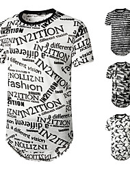 cheap -Men's Tee T shirt Shirt Graphic Rendering Plus Size Short Sleeve Casual Tops Basic Designer Hip Hop Slim Fit A B C