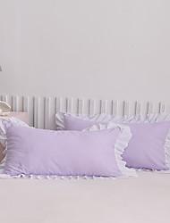 cheap -2 Pack 50*75cm Pillowcases/Pillow Shams Edge Ruffles Plain/Solid White Purple