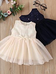 cheap -Baby Girls' Basic Solid Colored Print Sleeveless Knee-length Dress Royal Blue Beige