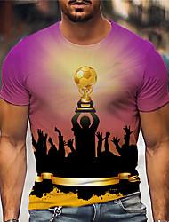 cheap -Men's Tee T shirt Shirt 3D Print Graphic Prints Football Soccer Football player Print Short Sleeve Daily Regular Fit Tops Casual Designer Big and Tall Purple / Summer
