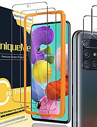 cheap -[2+2 pack] uniqueme camera lens protector and screen protector for samsung galaxy a51 4g / 5g / 5g uw tempered glass [easy installation frame] hd clear [anti-scratch] [bubble free]