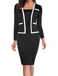 cheap -Women's Sheath Dress Knee Length Dress Dusty Blue Black 3/4 Length Sleeve Color Block Fall Spring Elegant 2021 S M L XL XXL 3XL 4XL 5XL 6XL
