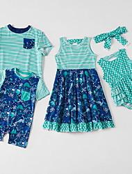 cheap -Family Look Green Daily Polka Dot Print Sleeveless Knee-length Family Sets