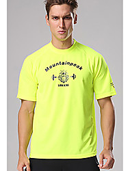 cheap -Men's Short Sleeve Running Shirt Tee Tshirt Top Athletic Summer Quick Dry Breathable Soft Gym Workout Running Active Training Jogging Exercise Sportswear Skull Normal Amethyst fluorescent yellow