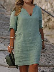 cheap -Women's Plus Size Dress Shift Dress Knee Length Dress Half Sleeve Solid Color Basic Summer Green XL XXL 3XL 4XL 5XL