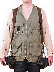 cheap -Leather Outdoor Functional Vest Strap Digital Accessories Cowhide Single and Double Shoulder Strap SLR Camera Universal Shoulder Strap DV Accessories