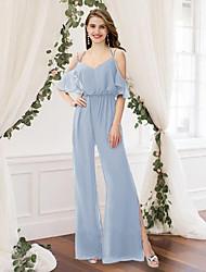 cheap -Jumpsuits V Neck / Spaghetti Strap Floor Length Chiffon Bridesmaid Dress with Split Front