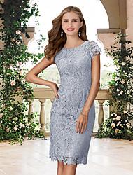 cheap -Sheath / Column Jewel Neck Knee Length Lace Bridesmaid Dress with Appliques