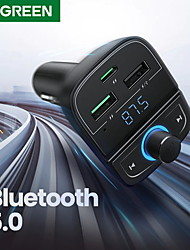 cheap -UGREEN Quick Charge 4.0 Car Charger for Phone FM Transmitter Bluetooth Car Kit Audio MP3 Player Fast Dual USB Car Phone Charger