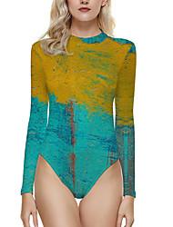 cheap -Women's One Piece Monokini Swimsuit Print Floral Abstract Blue Yellow Wine Green Black Swimwear Bathing Suits New Casual / Rash Guard / Padless / Beach