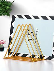 cheap -Nordic Iron Triangle Bookshelf Magazine And Newspaper Storage Bookshelf Office Desk Bookshelf Display