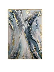 cheap -Oil Painting Handmade Hand Painted Wall Art Contemporary Blue and White Abstract Large Size Home Decoration Decor Rolled Canvas No Frame Unstretched