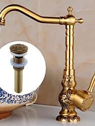 cheap -Bathroom Sink Faucet - Centerset Antique Brass Centerset Single Handle One HoleBath Taps