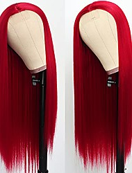 """cheap -halloweencostumes lezaxiu long red straight wigs for women 24"""" middle part heat resistant red wigs glueless natural looking long silky straight hair wig synthetic fiber wigs"""
