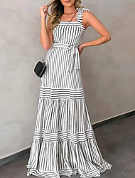 cheap -2021 cross-border european and american checkered striped dress amazon independent station new product bohemian sling long skirt female