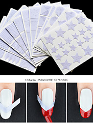 cheap -12Pcs French Nail Tips Stickers DIY Nails Shape Fringe Guides Star Heart Wave Liner Hollow 3d Creative Nail Art Decorations Tools