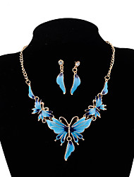 cheap -butterfly jewelry set clavicle chain necklace exaggerated alloy dripping butterfly short chain set
