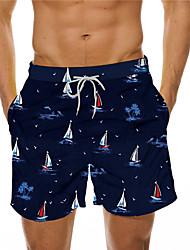 cheap -Men's Designer Casual / Sporty Big and Tall Quick Dry Breathable Soft Shorts Bermuda shorts Swim Trucks Holiday Beach Swimming Pool Pants Graphic Prints Coconut Tree Boat Short Drawstring Elastic