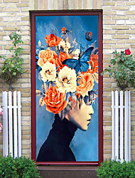 "cheap -2pcs Self-adhesive Creative Door Stickers Head Flower Arrangement Living Room Diy Decoration Home Waterproof Wall Stickers 30.3""x78.7""(77x200cm), 2 PCS Set"