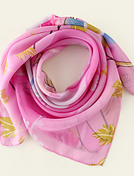 cheap -Women's Square Scarf Party Pink Scarf Floral Chiffon Fall Spring