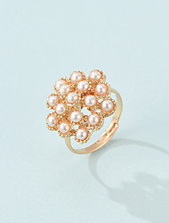 cheap -Fashion Flower Shape Bride And Bridesmaid Open Ring French Retro Fairy Series Pearl Ring