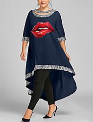 cheap -Women's Plus Size Dress Swing Dress Maxi long Dress 3/4 Length Sleeve Graphic Mouth Sequins Casual Summer White Wine Black XL XXL 3XL 4XL 5XL