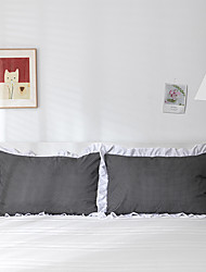 cheap -2 Pack 50*75cm Pillowcases/Pillow Shams Edge Ruffles Plain/Solid White Black Nets