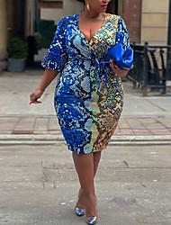 cheap -Women's Plus Size Dress Sheath Dress Knee Length Dress Half Sleeve Graphic Sexy Spring Summer Blue XL XXL 3XL 4XL