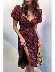 cheap -Women's A Line Dress Knee Length Dress color Short Sleeve Print Spring Summer Casual / Daily 2021 S M L XL