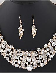cheap -jewelry set exaggerated fashion gemstone metal geometric flashing diamond necklace earring set