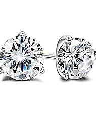 cheap -milacolato 18k gold plated sterling silver brilliant cut simulated diamond cubic zirconia stud earrings for women, 5mm