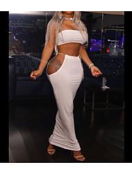 cheap -Women's Sheath Dress Maxi long Dress Polyester fiber 95% spandex fiber 5% Fabric: Milk silk Maximum code weight: 0.295kg White Black Sleeveless Solid Color Summer Casual 2021 S M L