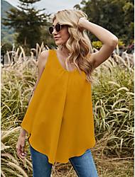 cheap -Women's Beach Camisole Tank Top Vest Plain Lace Flowing tunic U Neck Basic Streetwear Boho Tops Loose Yellow White