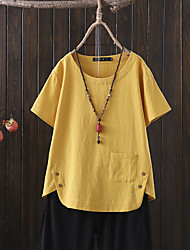 cheap -Women's Plus Size Tops Blouse Shirt Short Sleeve V Neck Navy Yellow White Big Size L XL XXL 3XL 4XL
