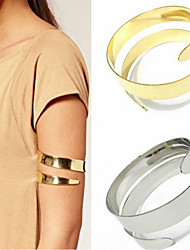 cheap -arm bangle bracelet punk exaggerated metal glossy double layer snake arm ring women jewelry