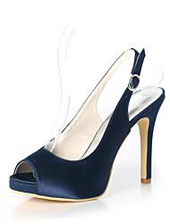 cheap -Women's Wedding Shoes Stiletto Heel Peep Toe Satin Solid Colored White Dark Purple Champagne