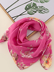 cheap -Women's Square Scarf Party Rose Scarf Floral Chiffon Orange Fall Spring