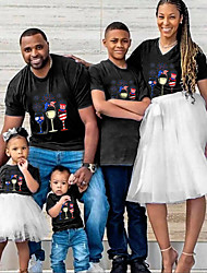 cheap -Tops Family Look Cotton American National Day Daily Print Black Short Sleeve Active Matching Outfits