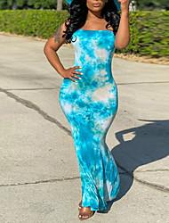 cheap -Women's Cheongsam Dress Maxi long Dress Blue Sleeveless Tie Dye Summer Sexy Slim 2021 S M L XL XXL