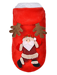 cheap -Dog Costume Jumpsuit Christmas Cartoon For Indoor and Outdoor Use Christmas Casual / Daily Winter Dog Clothes Puppy Clothes Dog Outfits Warm Red Costume for Girl and Boy Dog Polyester S M L XL 2XL