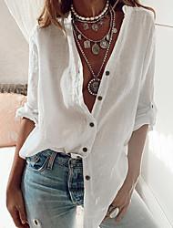 cheap -Women's Blouse Shirt Solid Colored Long Sleeve Shirt Collar Tops Cotton White Black Blue
