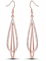 cheap -yeevaa rose gold teardrop dangle earrings for women drop dangling earring rhinestone double oval twist girls wedding gifts