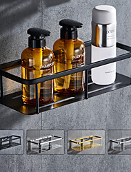 cheap -Rectangle Bathroom Shelf for Washing Supplies, Bath Fixture, Wall Mounted New Design Creative Contemporary Modern 304Stainless Steel, Matte Black, Brushed Nickel, Matte Gold, Chrome 1pc