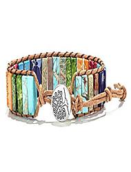 cheap -chakra wrap bracelet handmade leather boho gemstone jewelry for women girls tree of life healing yoga bracelets weave adjustable friendship gifts tree