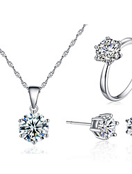 cheap -simple six-claw zircon jewelry set, 6mm earrings, 8mm necklace, 8mm or 6mm ring, three-piece set