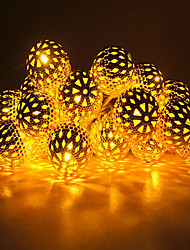 cheap -LED String Lights 5M-40LED Moroccan Ball Fairy Garland Copper Patio String Light Globe Fairy Orb Lantern Christmas for Wedding Party Home Decoration USB or 220V Plug