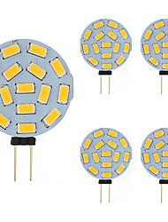 cheap -LED Bi-pin Bulb 5pcs 2W G4 Round 15 SMD 5730 DC AC 12 - 24V Warm Cold White