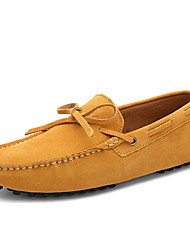 cheap -Men's Loafers & Slip-Ons Suede Shoes Moccasin Driving Shoes Daily Walking Shoes Leather Breathable Wine Yellow Gray Summer