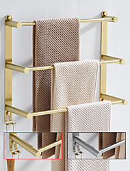 cheap -Bathroom Three-layer Shelf with Hooks Stainless Steel Multi-function Towel Rack Wall Mounted Matte Gold and Brushed Nickel 1pc