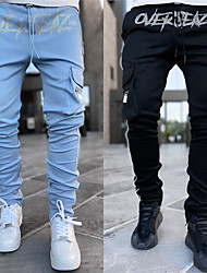 cheap -Men's Stylish Sporty Casual / Sporty Streetwear Breathable Soft Skinny Pants Daily Sports Pants Letter Full Length Drawstring Elastic Waist Blue Gray Black Red